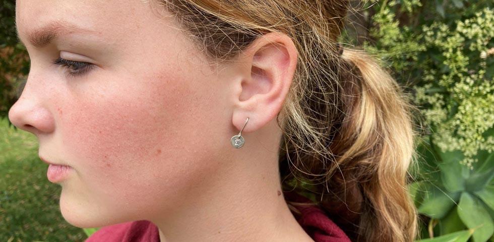 Earrings made in creative kids class