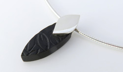 Ebony leaf laser engraved pendant