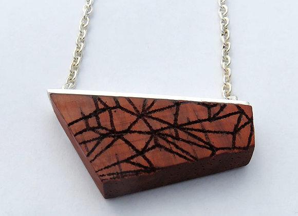 Padouk wood geometric silver pendant