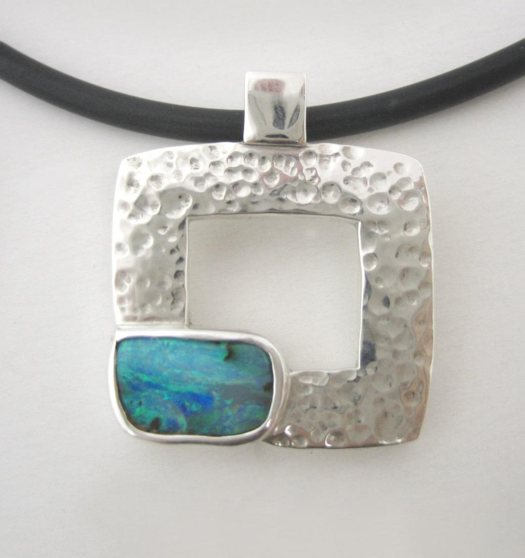 Hammered square frame opal pendant