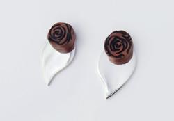 Rose timber earrings