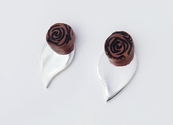 Rose leaf silver studs (removable silver leaf)