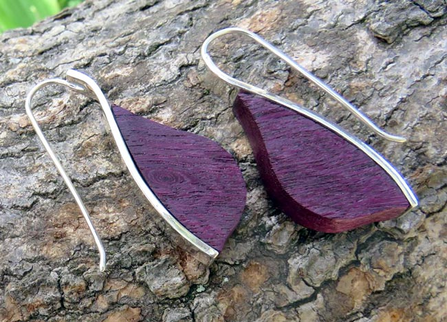 Purple heart leaf earrings