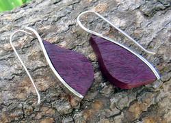Purple heart leaf earrings