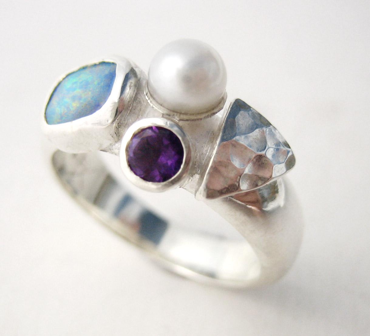 Pearl amethyst opal ring