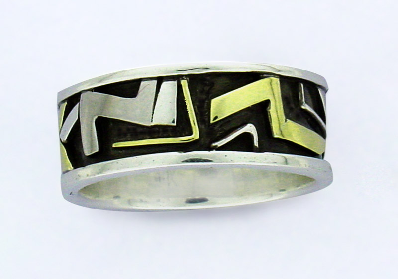 Mixed gold Aztec ring