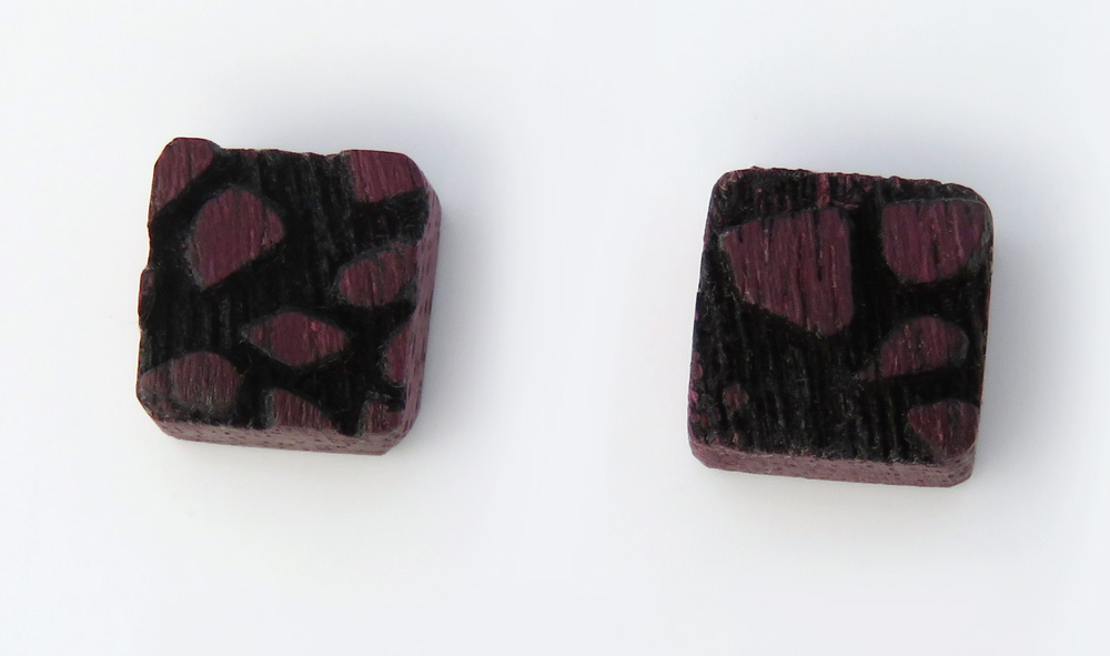 Square purple heart studs