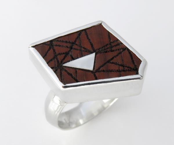 Geometric laser rosewood ring