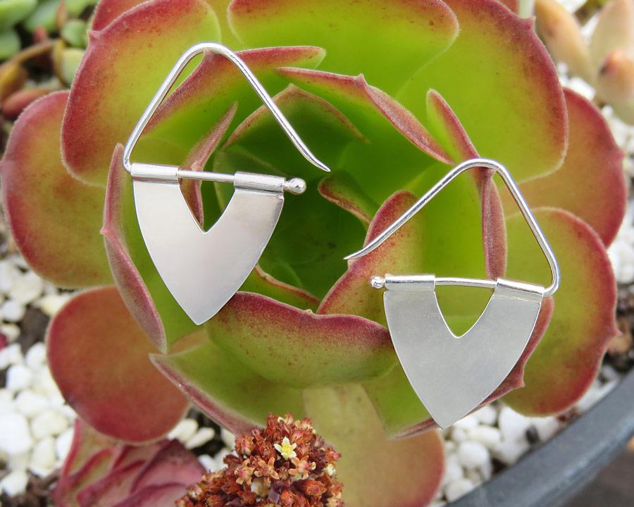 Silver Triangle Hook Earrings