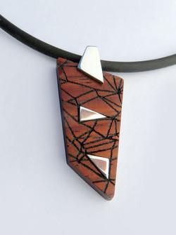 Rosewood laser geometric pendant