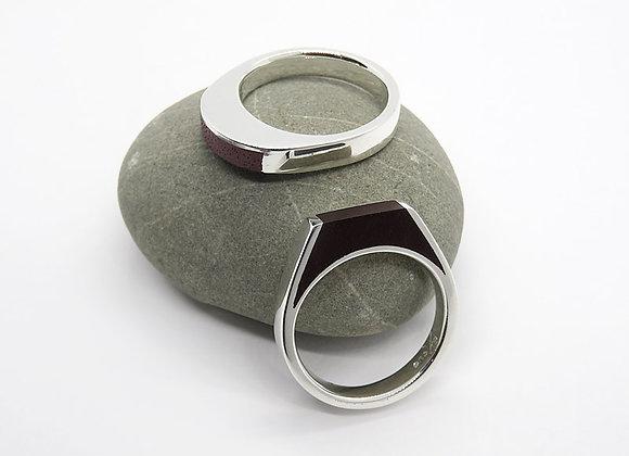 Silver & timber inlay ring