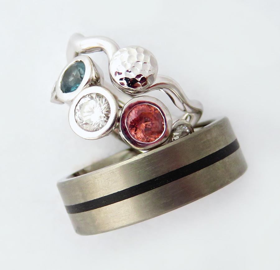 Zircon,Topaz, Diamond & Titanium Teflon rings