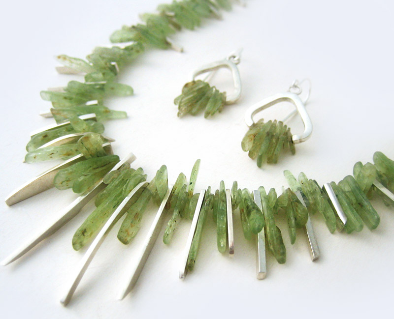 Kyanite spliced necklace & earrings