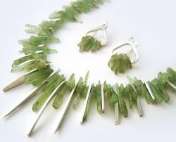 Kyanite spliced necklace & earrings