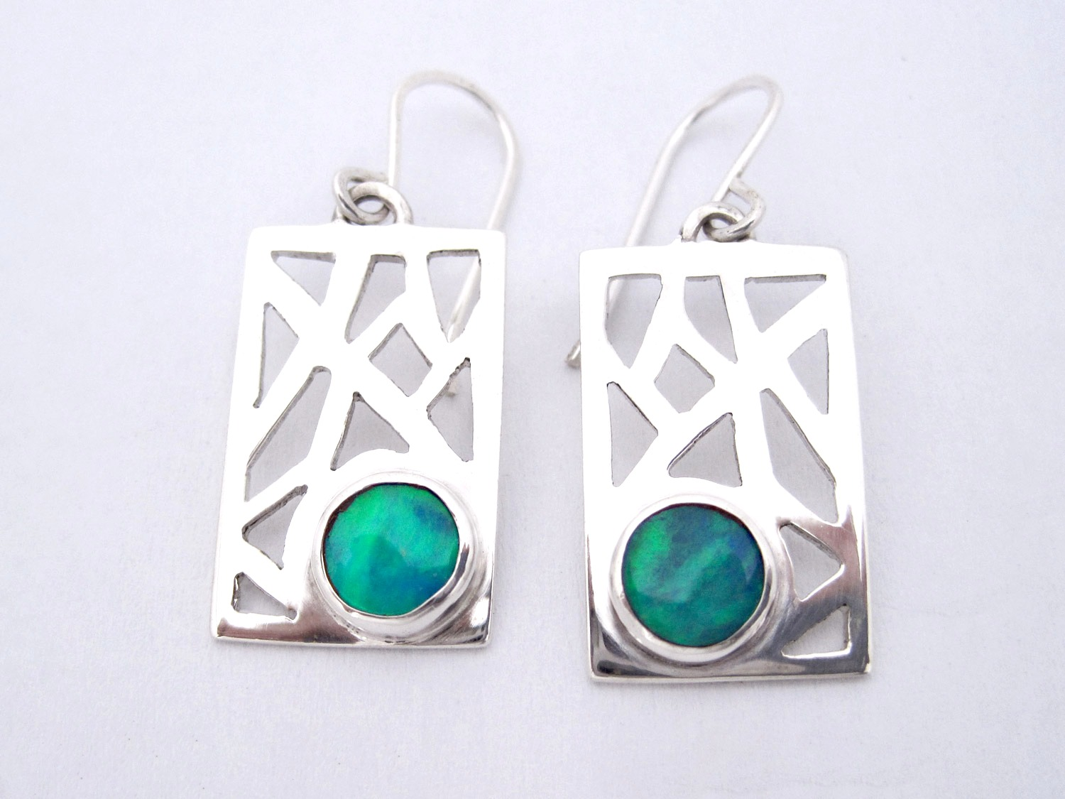 Opal hand cut silver earrings
