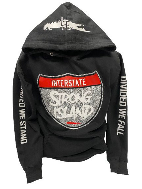 EXCLUSIVE OFFICIAL STRONG ISLAND INTERSTATE HOODY - BLACK