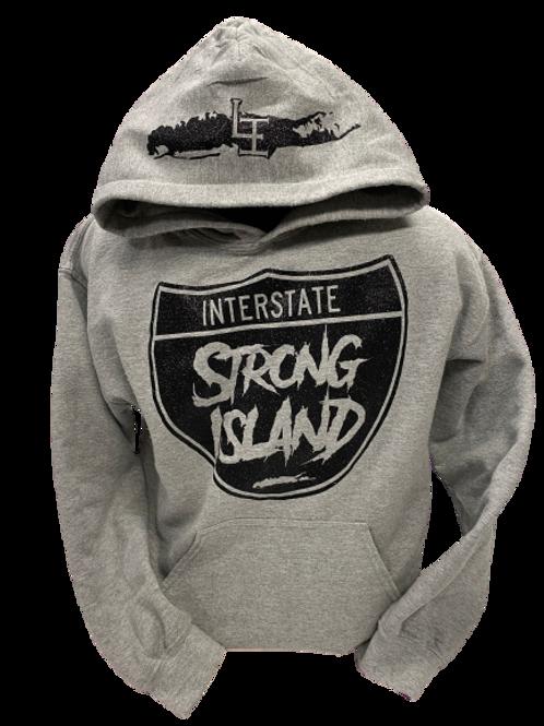 OFFICIAL STRONG ISLAND INTERSTATE HOODY / GREY GLITTER PRINT
