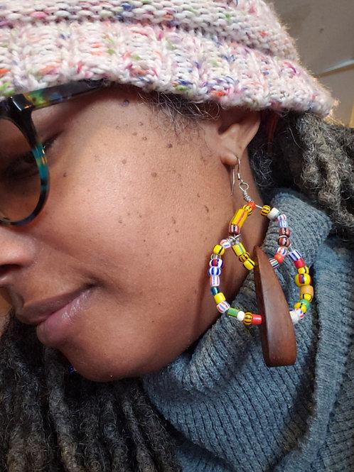 Wood/Christmas Beads Earrings