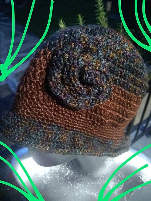 Brown blue flower hat