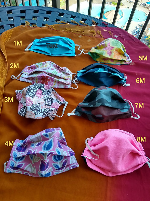 Medium cotton mask with filter.  Women or teen size.