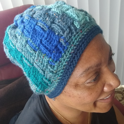 Blue multi texture hat