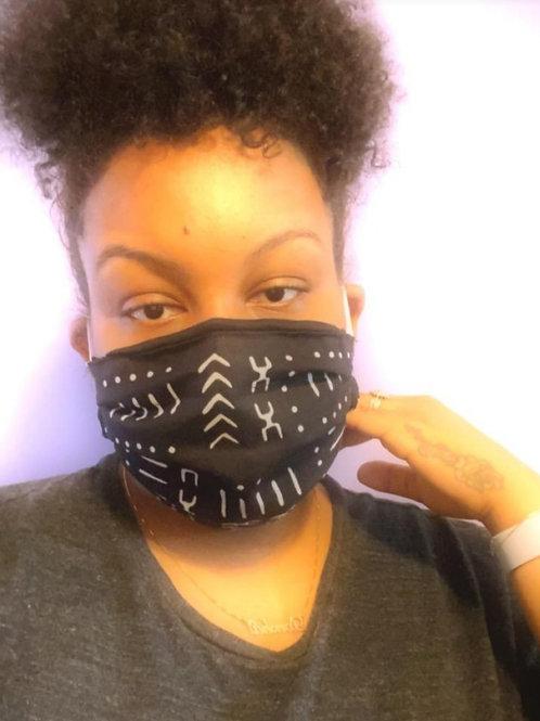 Mask #1E mudcloth black/white