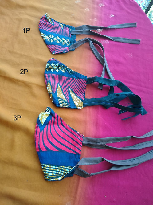 Cotton masks with filter and ties.Small