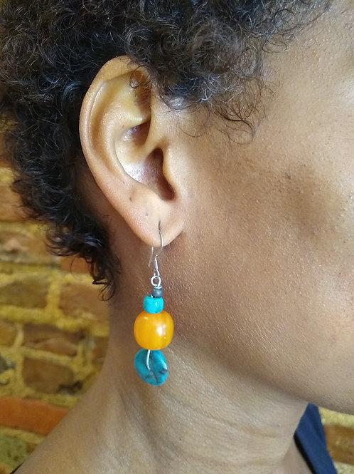 Turquoise stone meets orange earring