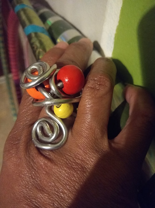 Warm Colors Wood Ring