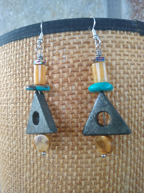 Yellow jade, turquoise and pyrite stones