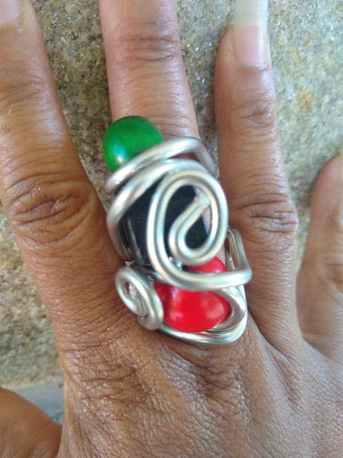 Red Black and Green Wood Ring