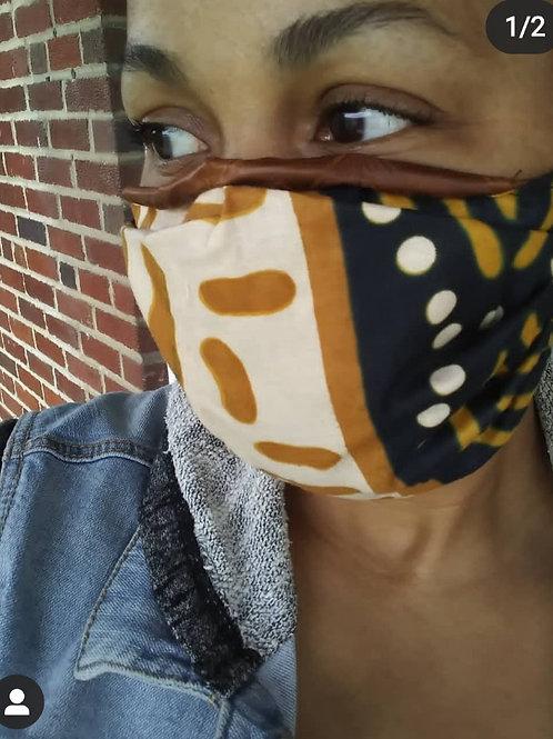 Mask #1J mudcloth tan/black