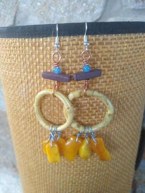 Bamboo and Plamber earrings