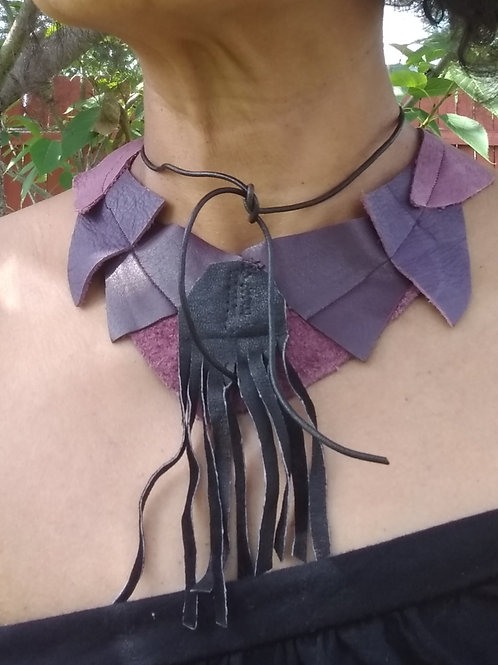 Upcycled leather necklace