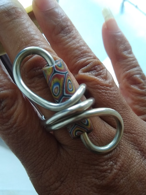 African trade bead ring