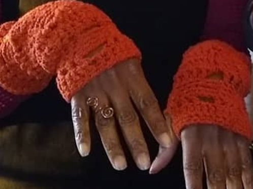 Orange cotton/lycra fingerless gloves