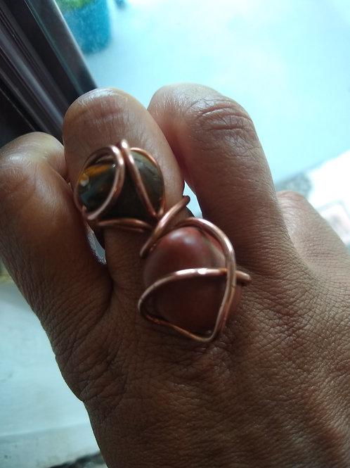 Jasper and copper ring