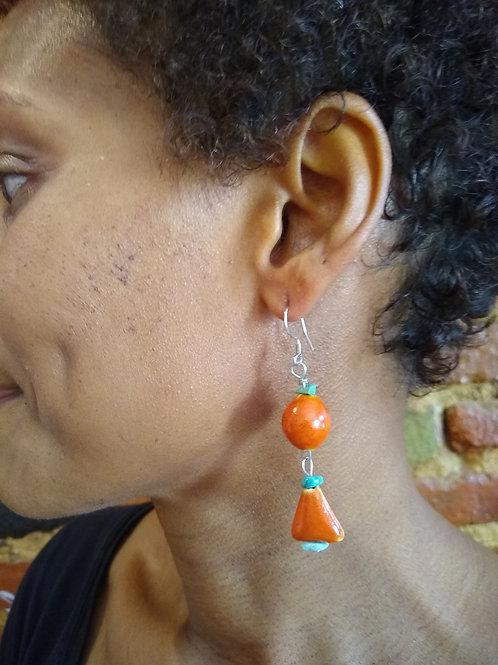 Orange ceramic with Turquoise stones