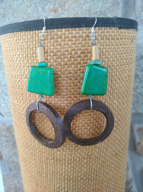 Turquoise in green and blue with wood