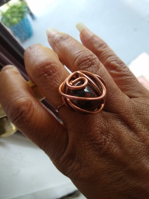 Jasper meets copper ring size 7 adjustable