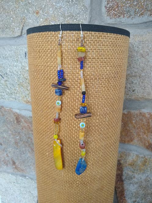 Long Lapis and Yellow Jade Stone earrings