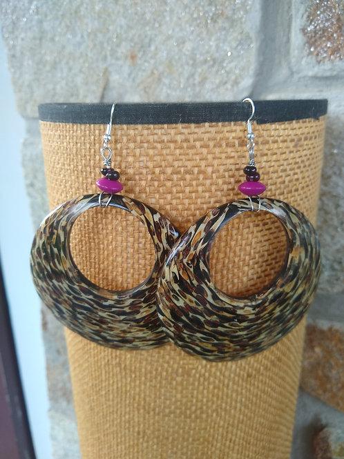 Large coconut wood hoops meet purple garnet