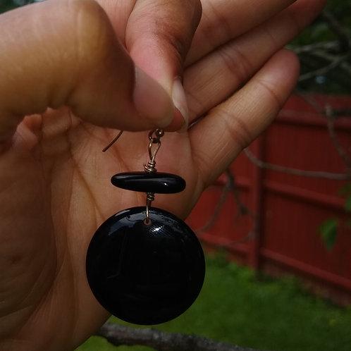 P.S. Flat onyx circle earrings