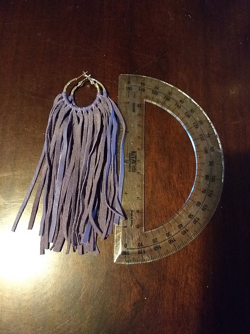 Recycled Leather Earrings Lavender