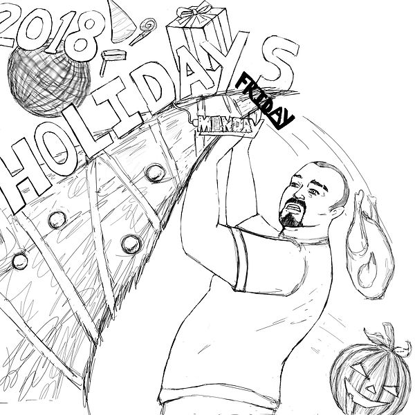 Holidays crashing down: Halloween Jack-O-Lantern, Thanksgiving Turkey, Christmas Tree/ Presents, Black Friday, Cyber Monday, New Years
