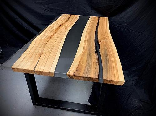 Table de cuisine frêne et époxy
