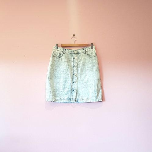 Textured Denim Skirt