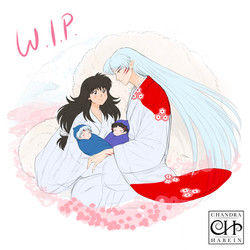 Rin and Sesshomaru with Towa and Setsuna