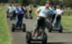 Group of people on a guided Segway ride