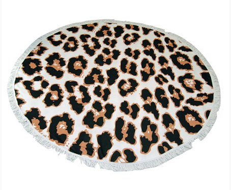 Leopard Print Round Towel